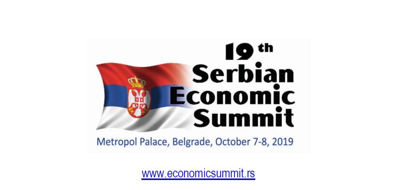Zoran Tadić govornik na 19-tom Ekonomskom samitu, Beograd 7-8.10.2019.
