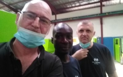 Neofyton service team on a service mission in Nigeria – Neofyton service operational during a pandemic.